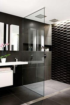 Bathroom:Black Stone Wall Pink Orchid Flower Bathroom Mirror Glass Bathroom Partition Modern Steel Faucet Modern Bathroom Sink Black Stone Floor Three Crucial Aspects in Upgrading Small Bathrooms