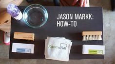"""A short """"How To"""" vid on how to clean your kicks using Jason Markk premium shoe cleaning products. Note: Due to suede's textured nature, open pores,… Sneakers Box, Clean Shoes, Up Shoes, The More You Know, Sneakers Fashion, Shoe Cleaner, Kicks, Cleaning Products, Brushes"""