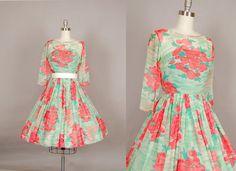 vintage 1950s dress silk chiffon full skirt by NodtoModvintage, $310.00