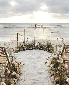 Beach wedding ceremony with ground-level circle. To-Die-For Beach Wedding Ceremony Arches on Here Comes The Guide! Wedding Ceremony Ideas, Wedding Altars, Beach Ceremony, Wedding Ceremonies, Wedding Venues, Boho Beach Wedding, Beach Wedding Flowers, Beach Wedding Inspiration, Beach Weddings