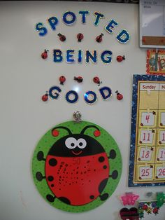 SO cute! good for a whole class award. could even provide other teachers/staff with some ladybug stickers that they can give to class if they see good behavior in hallways/assemblies/lunchroom etc. Classroom Behavior Management, Behaviour Management, Classroom Organisation, Class Management, New Classroom, Kindergarten Classroom, Classroom Themes, School Displays, Classroom Displays