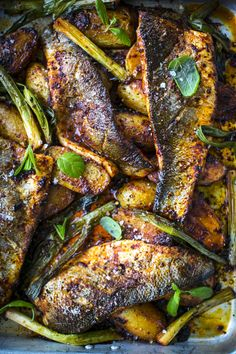 Harissa Baked Fish with Baby Potatoes, Tomatoes & Mint Salsa   DonalSkehan.com, Perfect as a spring/summer supper!