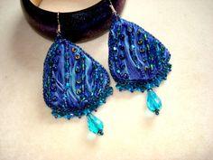 Bead embroidery earrings with shibori silk swarovski by Beabead, Ft9200.00
