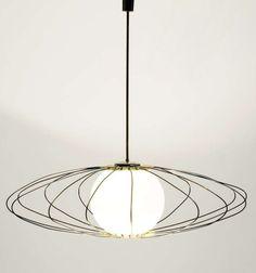 Angelo Lelli; Brass and Glass Ceiling Light for Arredoluce, c1950
