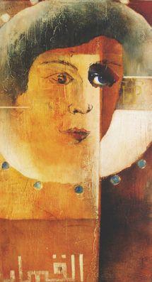 #arab, #Aquarell auf #Holz mit #Collage,  38 x 68 cm, #braun, #Kreuz, #Gesicht