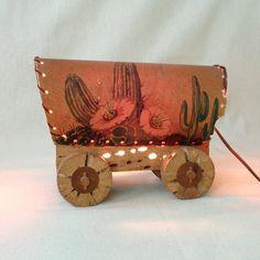Vintage Rustic Cactus Wood Wagon Lamp