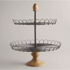 edin two tiered tray Possibly make with 2 wire trays, dowel, candle holder, final?