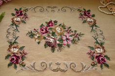 Chic Shabby Country Victorian Rose Scroll Hand Crafted Wool Needlepoint Canvas | eBay