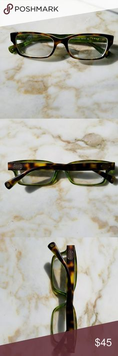 Coach Prescription Glasses Designer Authentic Frames  Good Used Condition No major scratching.  You can get your lenses put in!   Turquoise/Green and Brown  Retails for $160 Coach Accessories Glasses