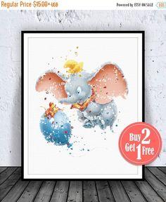 SALE: Dumbo Disney Print, Dumbo Print, Dumbo Art, Dumbo Wall Art, Dumbo Poster, Disney poster, Disney Nursery, Watercolor Artwork, Disney Ar