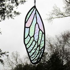 Stained Glass Insect Wing Cicada Iridescent by LivingGlassArt