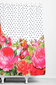Flower and dot shower curtain