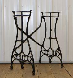 Vintage Machine Age Cast Iron Industrial Legs Table Base Bench White Treadle