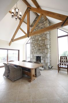 Exposed Oak truss from Glenfort on new house by Mark Stephens Architects