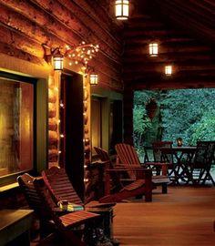 Log Cabin porch at night......