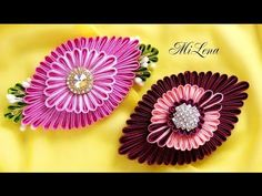 DIY Ribbon flower with beads/ grosgrain flowers with beads tutorial Diy Lace Ribbon Flowers, Ribbon Flower Tutorial, Kanzashi Flowers, Ribbon Art, Fabric Ribbon, Ribbon Crafts, Flower Crafts, Fabric Flowers, Kanzashi Tutorial