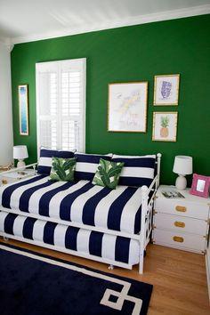 Guest Room in Progress - Kelly in the City Green Bedroom Walls, Small Room Bedroom, Green Rooms, Bedroom Decor, Green Walls, Contemporary Bedroom, Modern Bedroom, Contemporary Kitchens, New York Bedroom