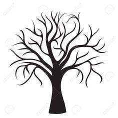 Illustration about Black tree without leaves on white background, vector image. Illustration of close, graphic, halloween - 24620458 Tree Outline, Tree Templates, Tree Images, Bare Tree, Tree Silhouette, Stock Foto, Life Drawing, Colouring Pages, Stencils