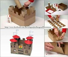 DIY Cardboard Castle for office supply storage - for marshmallow catapult School Projects, Projects For Kids, Diy For Kids, Project Ideas, Art Projects, Cardboard Castle, Cardboard Toys, Forts En Carton, Kids Crafts