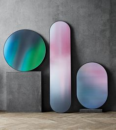Round, oval and long Mirror in printed reflective glass designed by Republic of Fritz Hansen