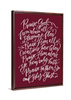 Calligraphy Art - Doxology canvas art by Lindsay Letters.