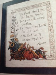 Diane Arthurs Thanksgiving Cross Stitch Kit We Thank Thee Lord 1298 New Sealed