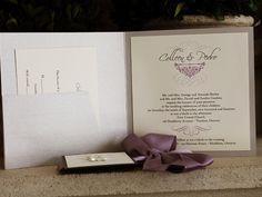 Invitation 1056: Silver Ore, Charcoal Pearl, Cream Smooth, Scriptina, High Tower, Lavender Ribbon, Brooch/Buckle B