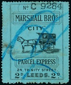Great Britain: Carrier Stamps: Marshall Bros 1900 (circa) 2d. black on blue ''CITY'' Parcel Express label used with crayon cancel.