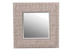 Kvadratisk speil i sølv antikk utførelse