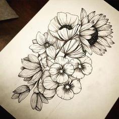 Flowers for my hip tattoo!Flowers for my hip tattoo! Cover Up Tattoos, Body Art Tattoos, Tattoo Drawings, Tribal Tattoos, Sexy Tattoos, Flower Drawings, Geometric Tattoos, Tattoo Art, Tatoos