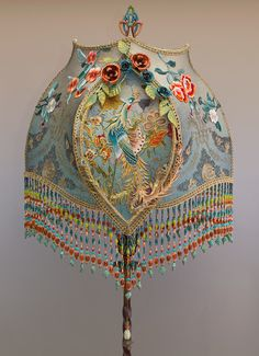 Phoenix & Roses Shadowbox Victorian Lampshade with Embroidery
