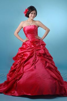 Red color wedding dress  One of my Barbies has this! LOL