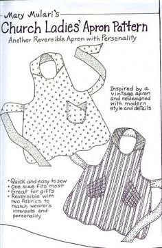 Church Ladies Apron Pattern - Grandma's Attic Sewing Emporium, Quilt Shop, Embroidery supplies, Quilting Supplies and Fabrics Sewing Hacks, Sewing Tutorials, Sewing Crafts, Sewing Projects, Sewing Patterns, Apron Patterns, Fabric Crafts, Sewing Tips, Dress Patterns