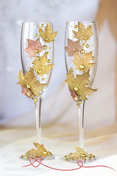 Сhampagne toasting glasses from collections Maple Leaves, fall wedding autumn leaf, bride and groom, personalized, pumpkin wedding, 2pcs