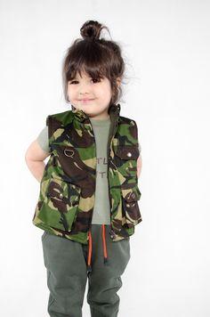camo vest# kids fashion# little hunter#WADERA