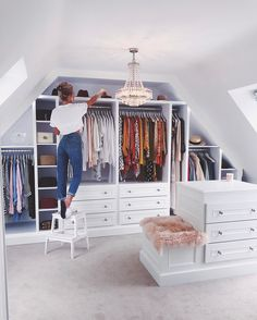 If you are struggling to find the space to install a walk-in closet, don& forget about a. If you are struggling to find the space to install a walk-in closet, don't forget about areas you would not generally think about, For example, fitting buil. Loft Conversion Dressing Room, Small Dressing Rooms, Room Design, Loft Room, Small Bathroom Tiles, Closet Decor, Attic Remodel, Dressing Room Design, Dressing Room Decor