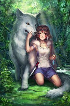 Ghibli Mononoke-hime San x Moro fanart by Kyuriin ~. Hayao Miyazaki, Studio Ghibli Art, Studio Ghibli Movies, Manga Anime, Anime Art, Chibi, Howls Moving Castle, My Neighbor Totoro, Animation