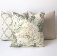 Sage green and aqua antique floral decorative pillow cover, double sided, cover only Green Decor, Floral Print Fabric, Floral Decor Pillows, Designer Decorative Pillows, Etsy Pillow Covers, Green Pillows, Decorative Pillow Covers, Fabric Decor, Sage Green Bedroom