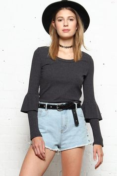 Lucca Lisa Long Sleeve Ribbed Top