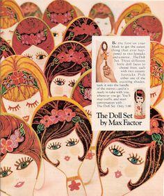 1967 The Doll Set by Max Factor Retro Ad ~ Lipstick & Mirror, Vintage Magazine Ads