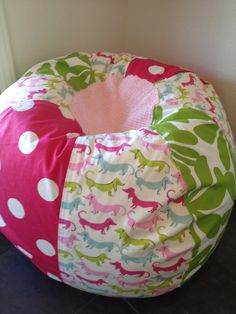 NEW Adorable Dachshunds Pink Polka Dot And Green Floral Bean Bag Chair With Chenille Topkeliana Picked This One
