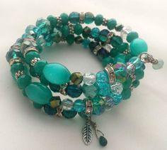 Handcrafted Blue Bracelet  Four Layer  Acqua by wildchild708