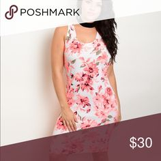 Floral and Coral bodycon Sexy and cute floral bodycon. Slightly irregular perfect with jacket. Dresses