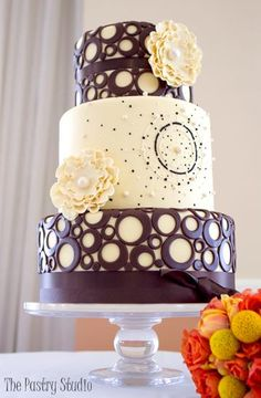 Bennett - Contemporary  Wedding Cake with Circles by The Pastry Studio Daytona Beach FL