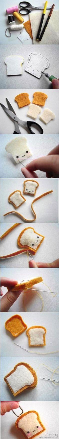 Súper linda tostada hecha de fieltro. DIY o HTM (Hazlo Tu Misma). Tutorial.