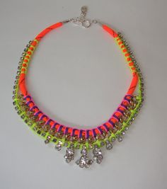 Vintage Crystal Rhinestone Necklace with Chain and Neon Accents
