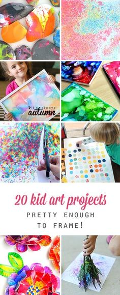 These are so cool! 20 kid art projects that turn out pretty enough to frame. Fun kids craft and activity ideas.