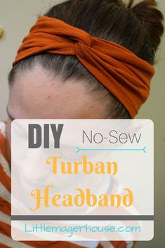 Make a quick and easy DIY turban headband with this tutorial! No sewing required! You can make several in just a few minutes, tops!