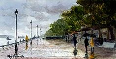 Squall on River Street - a Savannah scene by artist Ray Ellis