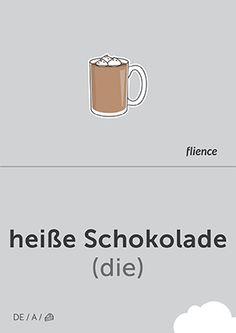 Heiße Schokolade #CardFly #flience #food #drinks #german #education #flashcard #language